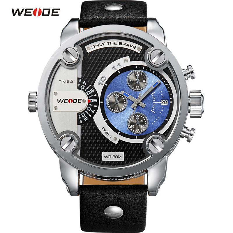 ФОТО WEIDE Watches Casual Men WatchesLuxury Brand Leather Strap Quartz Dual Time Analog Date Sport Military Oversize Men Wristwatches