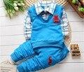 BibiCola 2015 nueva primavera otoño niños bebés que arropan el algodón de los muchachos camisetas + pantalones del juego del deporte niños ropa de caballero