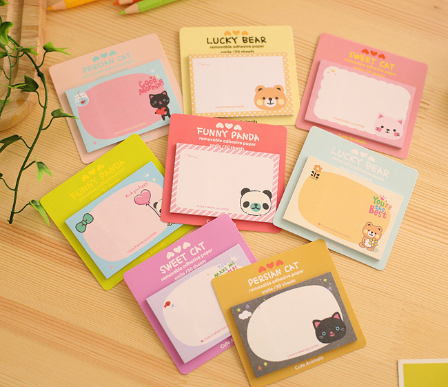 Image 5 - 50 PCs Korean Stationery Cute Stickers Cartoon Creative Notes South Korean Memo Sheets  Kawaii StationeryMemo Pads   -