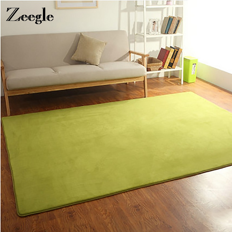Zeegle Large Solid Color Coral Fleece Carpet For Living Room Kid Bedroom Mat Brief Coffee Table Soft Floor Mat Sports Area Rug