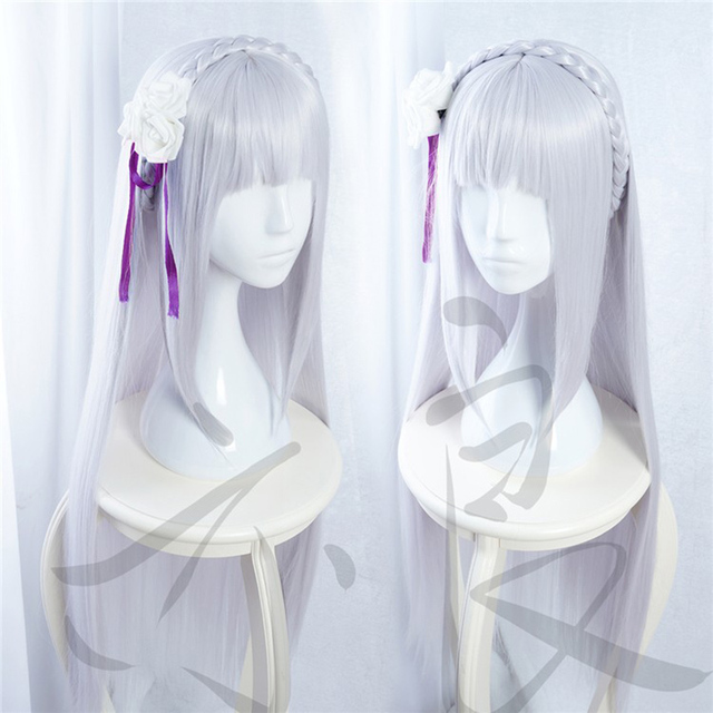 100cm Long Silver Purple Re: Life in a Different World from Zero Emilia Heat Resistant Hair Cosplay Costume Wig + Free Wig Cap