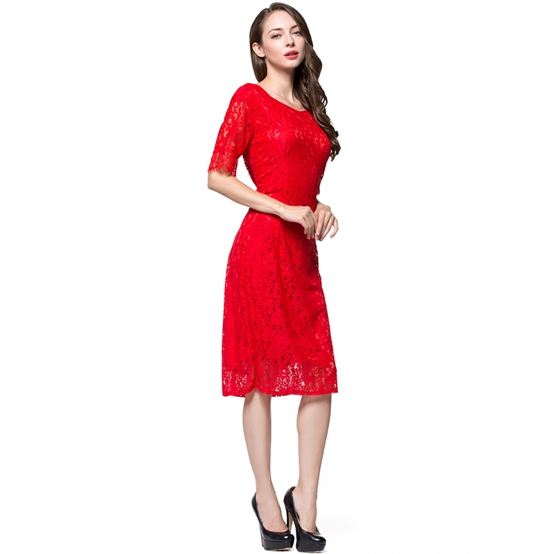 European Elegant Women Hollow Out Lace <font><b>Dress</b></font> O Neck Knee Length Half Sleeve <font><b>Plus</b></font> <font><b>SIze</b></font> 7XL <font><b>8XL</b></font> 9XL 10XL Club Party <font><b>Dress</b></font> image