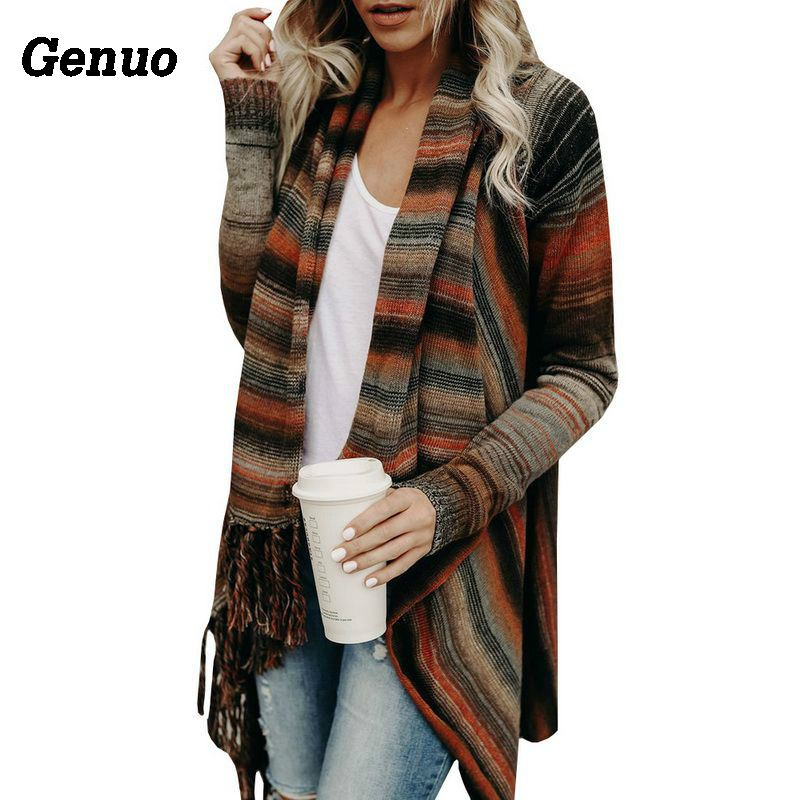 Genuo Shawl Autumn Winter Women Tassel Knitted Sweater Poncho Casual Stripe Irregular Loose Cardigan Cape Coat Tops Jumper Femme Sweaters Cardigans