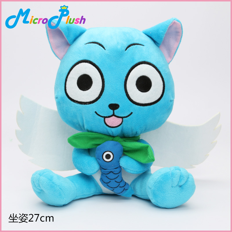 NEELUCKY 27cm Anime Fairy Tail Habib Hold Fish Doll Cat Cat Plush Toy Childrens Gifts