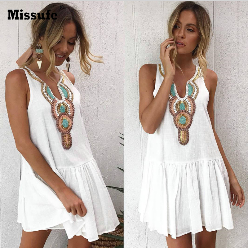 Missufe Casual V Neck Streetwear Back Button Boho Tunic Print Vintage Summer Dress Women Sexy Sleeveless Womens Beach Dresses