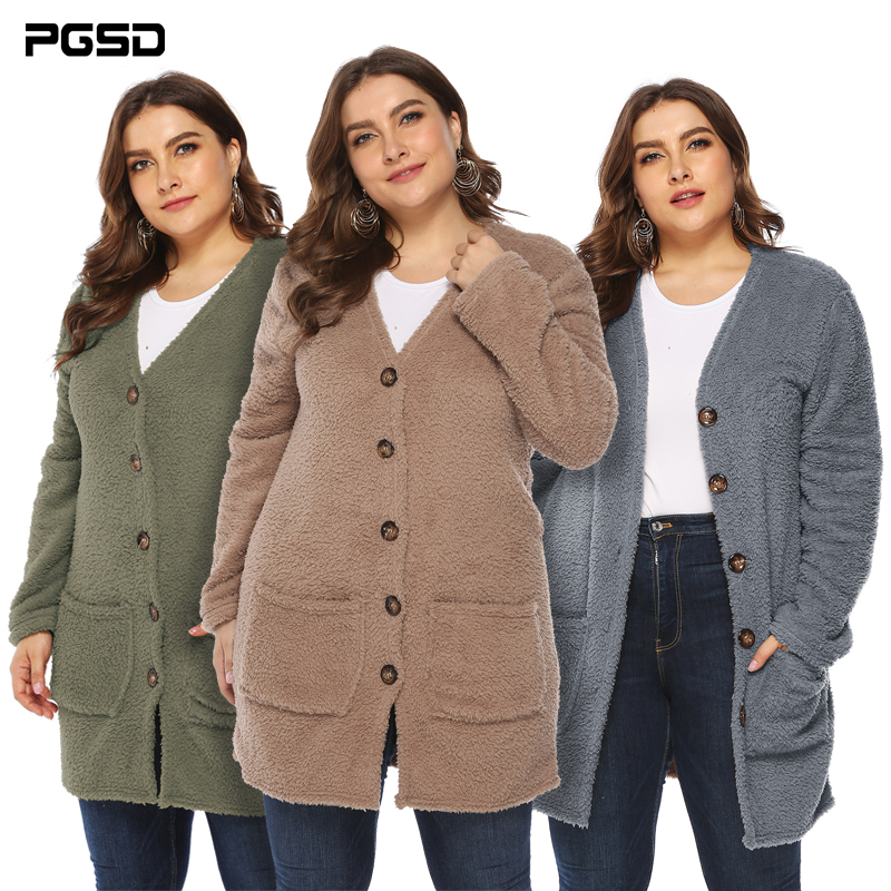 PGSD Winter Solid Simple Casual Big Size Women Clothes Double-sided Velvet Big Pocket Plush Knitted Sweater Button Warm Cardigan