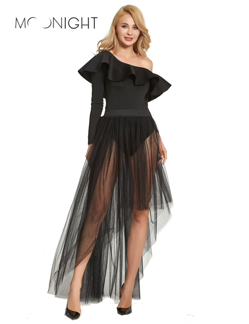 MOONIGHT Tulle Skirt Women Summer A-line Midi Skirts Female High Waist Tutu Pleated Skirts For Women School Black Skirt