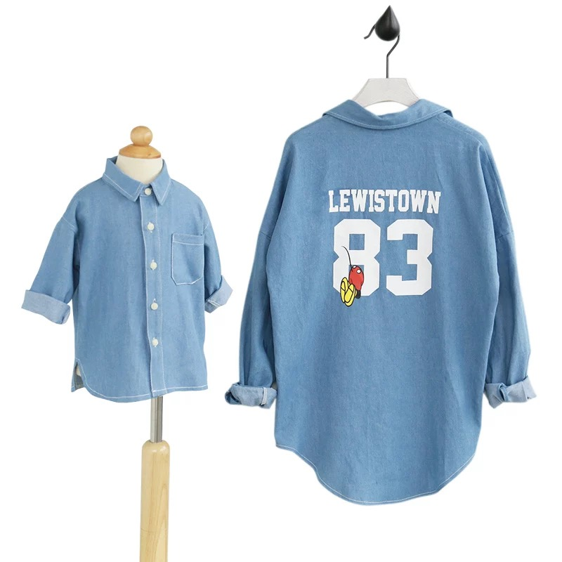 Family clothing casual denim shirt blouse family clothes for Matching denim shirt and jeans