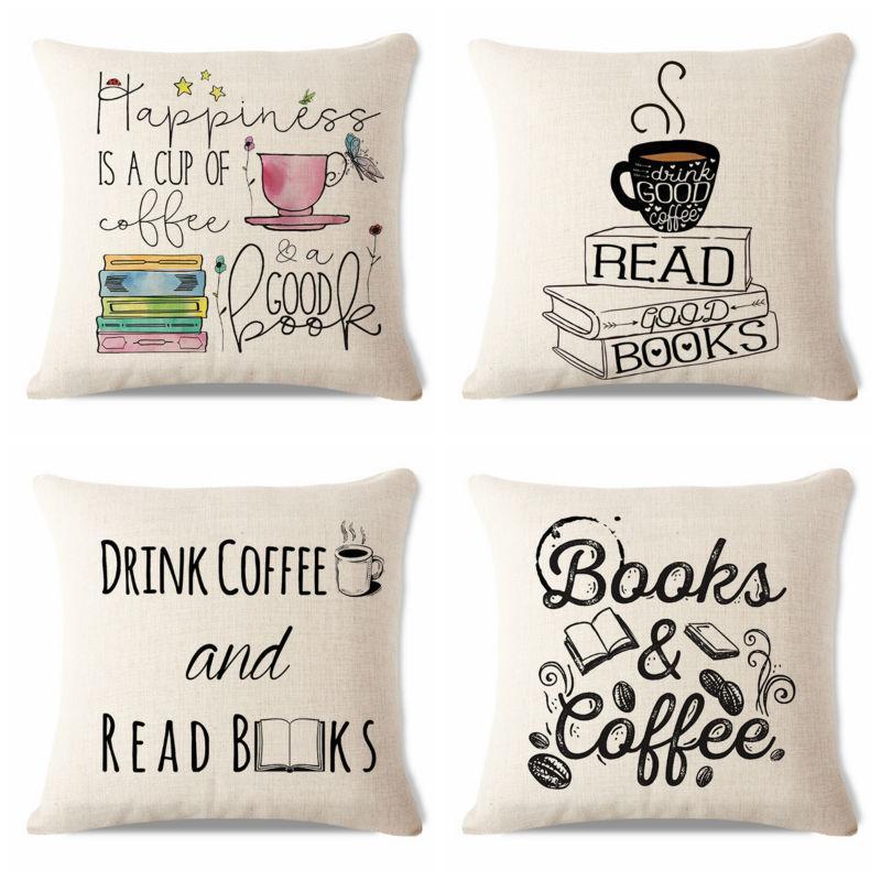 New Design Book Pillow Reader Fun Alphabet Letters Typeface Poster Art Decor Coffee Tea  ...