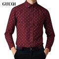 GUEQI Classic Printed Man Cotton Shirts BIG Size M-5XL Turn Down Collar Tops 2017 Good Quality Men White Tee Shirts