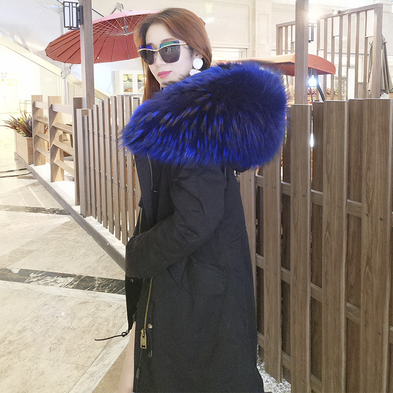maomaokong 2017 new women's top quality faux fur lining winter jacket coat Big Raccoon fur collar hooded long parka outwear 2017 winter new clothes to overcome the coat of women in the long reed rabbit hair fur fur coat fox raccoon fur collar