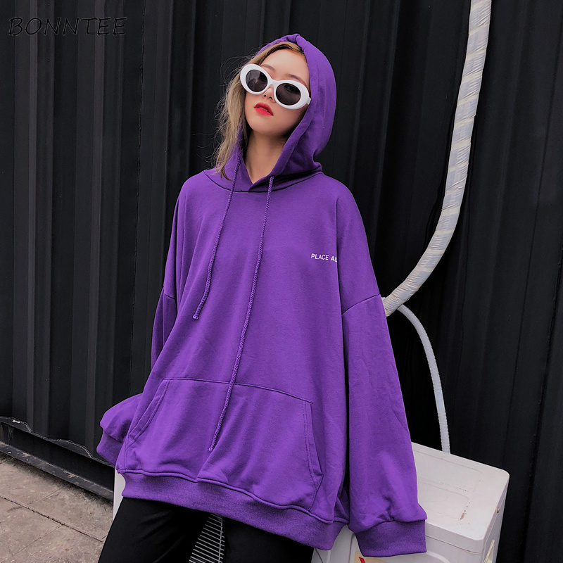 Hoodies Women Hooded Solid Loose Oversize Letter Print Pocket Womens Hoodie Harajuku Korean Chic Leisure Simple All-match Trendy