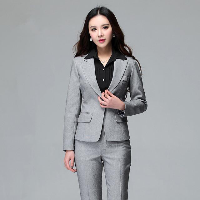 Mulheres de Negócio Ternos Escritório Formal Ternos Trabalho 2016 Estilo Uniforme de Escritório Conjunto Plus Size Calças Das Senhoras Terno Blazer com Calça