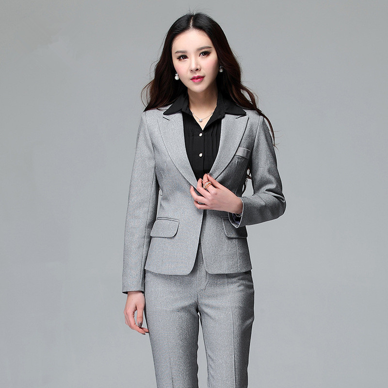 Women Business Suits Formal Office Suits Work 2016 Office Uniform Style Blazer with Pant Set Plus
