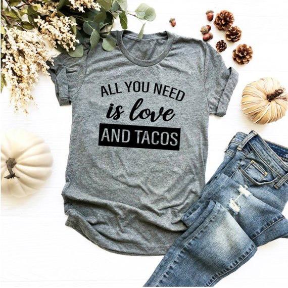Все, что вам нужно, это любовь и футболки tacos, футболки на День святого Валентина, Женская забавная графическая футболка, Летний стиль, наряды, футболка