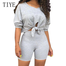 TIYE Two Pieces Sets Off Shoulder Short Sleeve Crop Top and Slim Pants Summer Hollow Out Casual Go Playsuits Plus Size XXL