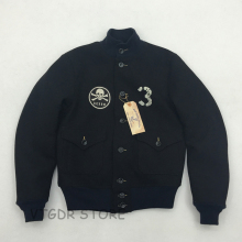 CIDI BOB DONG A-1 Woolen Flight Jacket USCG Back Paint Winter Men's Military Coat