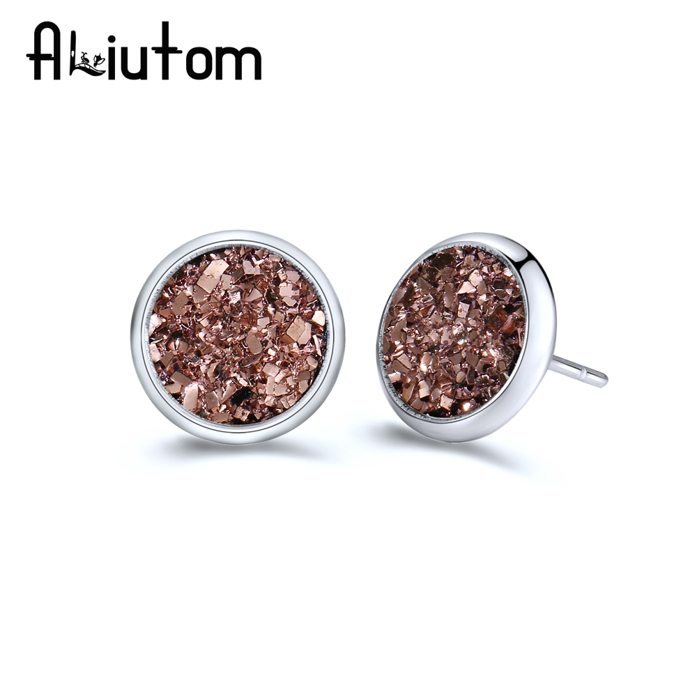 ALIUTOM 1Pair 8MM Stainless Steel Shiny Austrian Crystal Round Brincos Ear Studs Earrings For Girls Women Boucle D'oreille