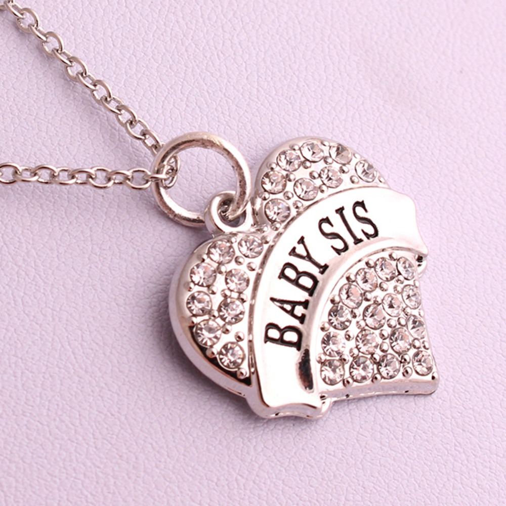 New Arrival rhodium plated zinc studded with sparkling crystals BABY SIS  heart pendant wheat chain necklace Drop Shipping