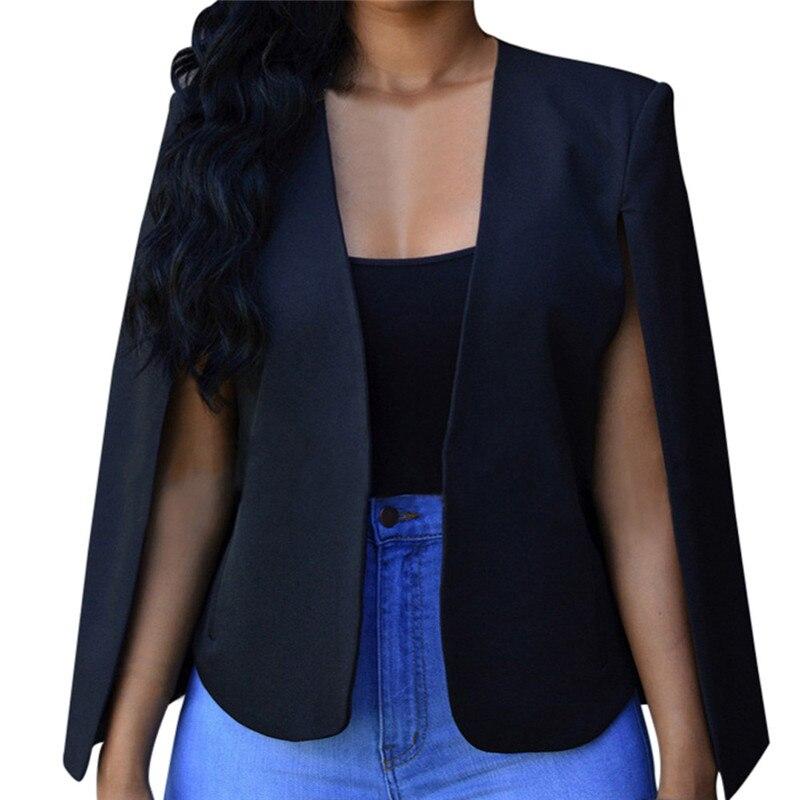 Women Loose Short Cloak Blazer Coat Cape Cardigan Jacket Trench Outwear