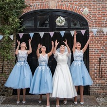 Sheer Scoop Sleeveless Baby Blue Short Bridesmaid Dresses 2017 Tea Length White Lace Wedding Party Gowns with Satin Sash BN134