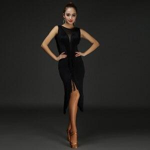Платье для латинских танцев, женское Сетчатое платье с кисточками и v-образным вырезом для танцев, платье латина с бахромой, 2 предмета, платье и шорты, DQ3185