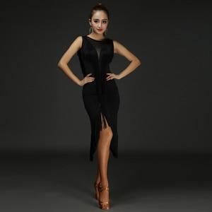 Image 5 - Latin dans elbise kadın püskül V tipi örgü dans giyim tüm vücut püskül hattı Salsa Fringe elbise Latina 2 adet elbise ve şort DQ3185