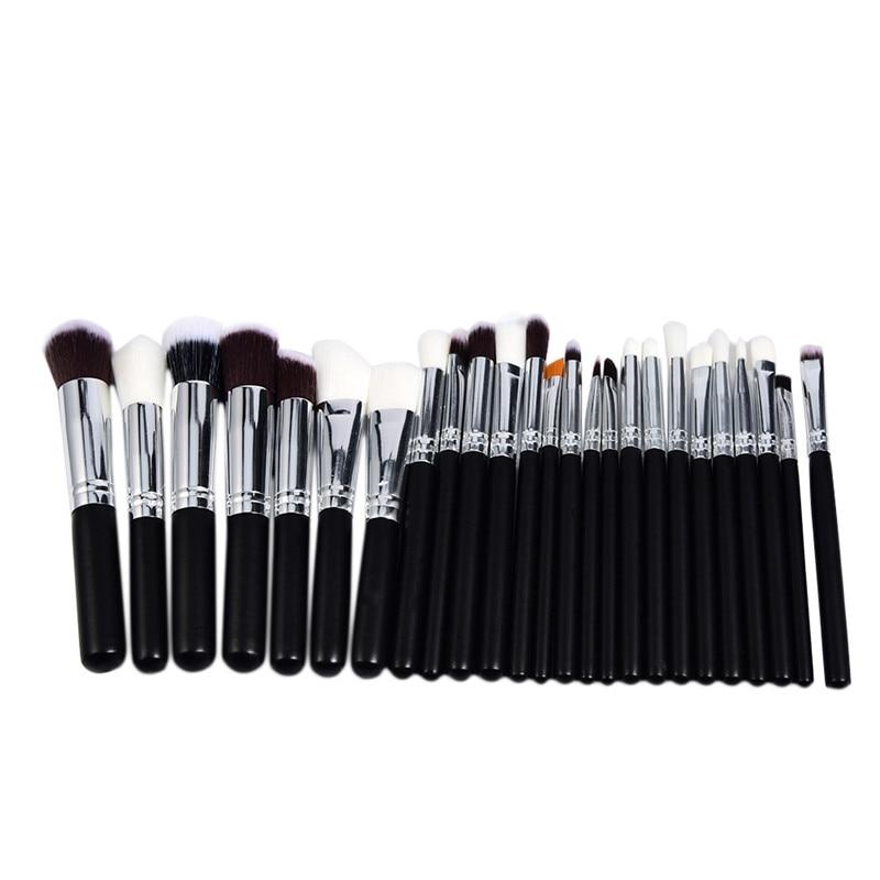 цена на 25Pcs/set Black Wood Handle Makeup Brushes Set Professional Cosmetic Powder Foundation Lipstick Eyebrow Brush High Quality 2017