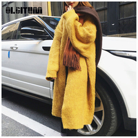 New 2018 Casual Yellow Red Long Sweater Cardigan Women Winter Wool Sweaters Oversized Open Stitch Female Wool Sweaters Coat