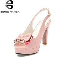 BONJOMARISA New Fashion Buckle Strap Square High Heels Bowtie Solid Platform Shoes Woman Leisure Summer Sandals