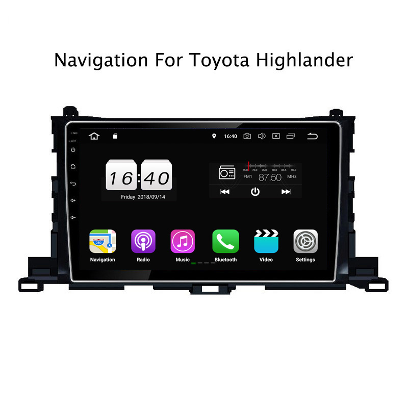 "10.1"" 2G RAM 16G ROM Android 8.1 Car DVD Multimedia Player For Toyota Highlander 2015-2018 GPS Navigation Radio Stereo Audio"