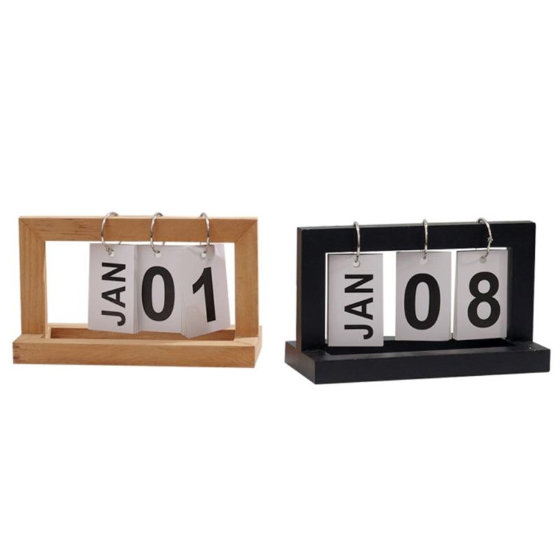 Neue-vintage Dekorative Holz Perpetual Kalender Haus Modell Wohnkultur Holz Block Kalender Figuren Tabletop Diy Organizer Eine Kalender, Planer Und Karten