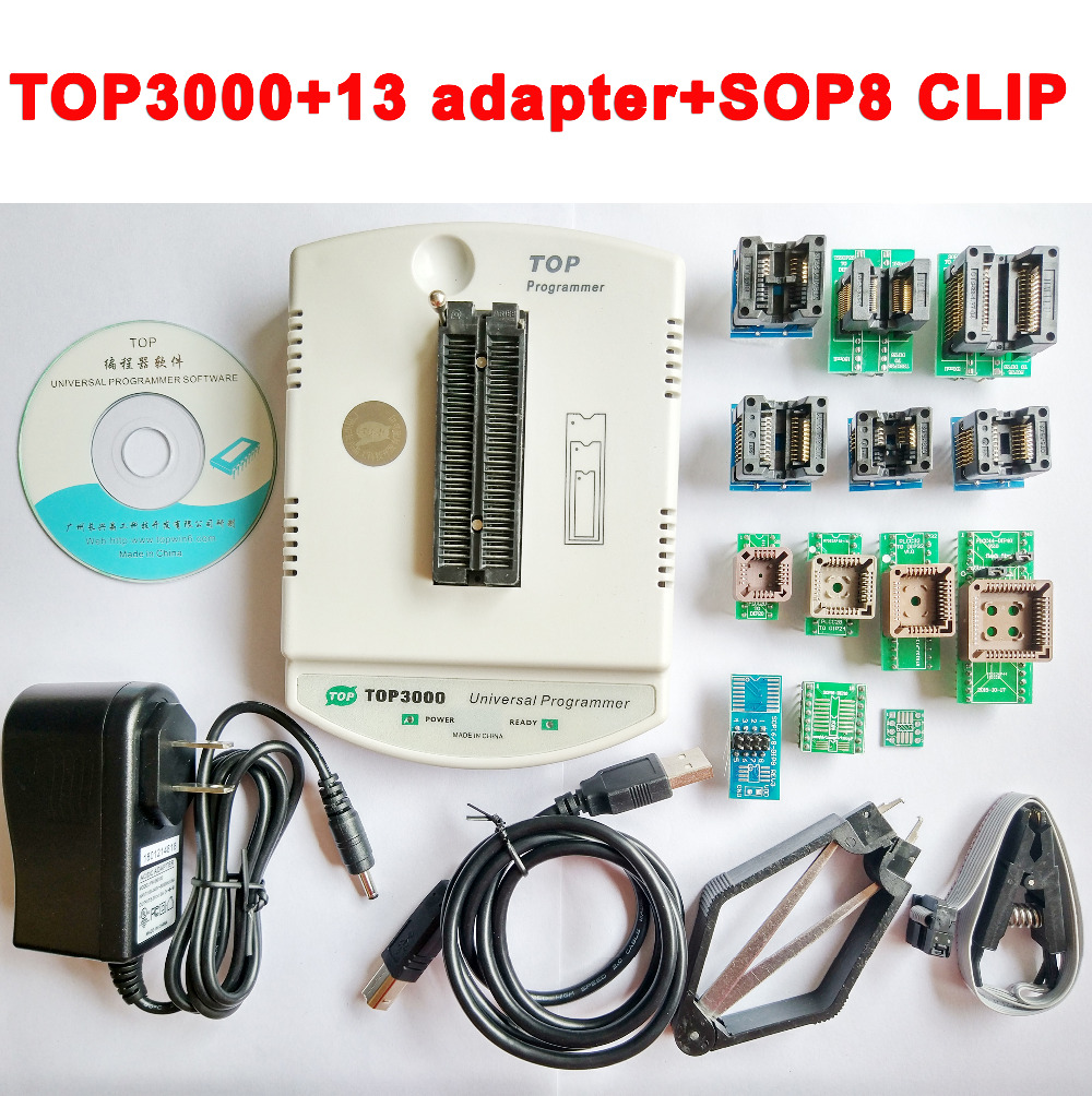 New TOP3000 USB universal programmer EPROM MCU PIC AVR + 13 adapter + SOP8 clip + clamp socket support more than 30000 ICNew TOP3000 USB universal programmer EPROM MCU PIC AVR + 13 adapter + SOP8 clip + clamp socket support more than 30000 IC