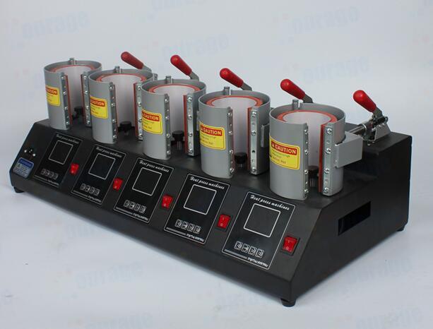 Digital 5 Stationen Becher Presse Maschine Bunte Druck Tasse Maker Heiße Tasse Backen Maschine Fünf Stationen Tasse Bäcker