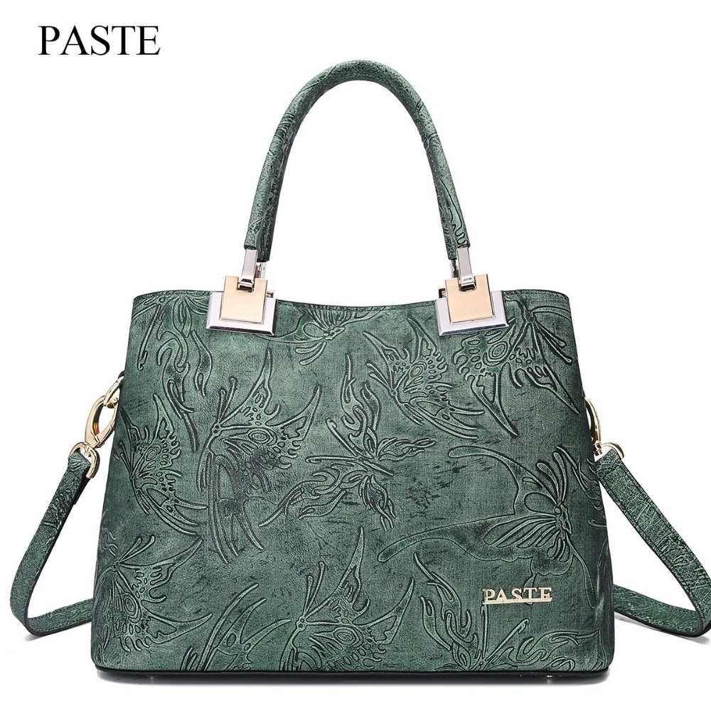 PASTE new women totes handbag genuine cowhide leather female shoulder bag vintage classic ladies embossing floral messenger bag vvmi 2016 new women handbag brand design rivet suede tassel bag chic classic vintage saddle bag single shoulder bag for female