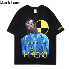 Dark Icon Printing Hip Hop T-shirt Men Summer New Street Fashion Mens Tshirts Short Sleeve Male Top Streetwear Clothing
