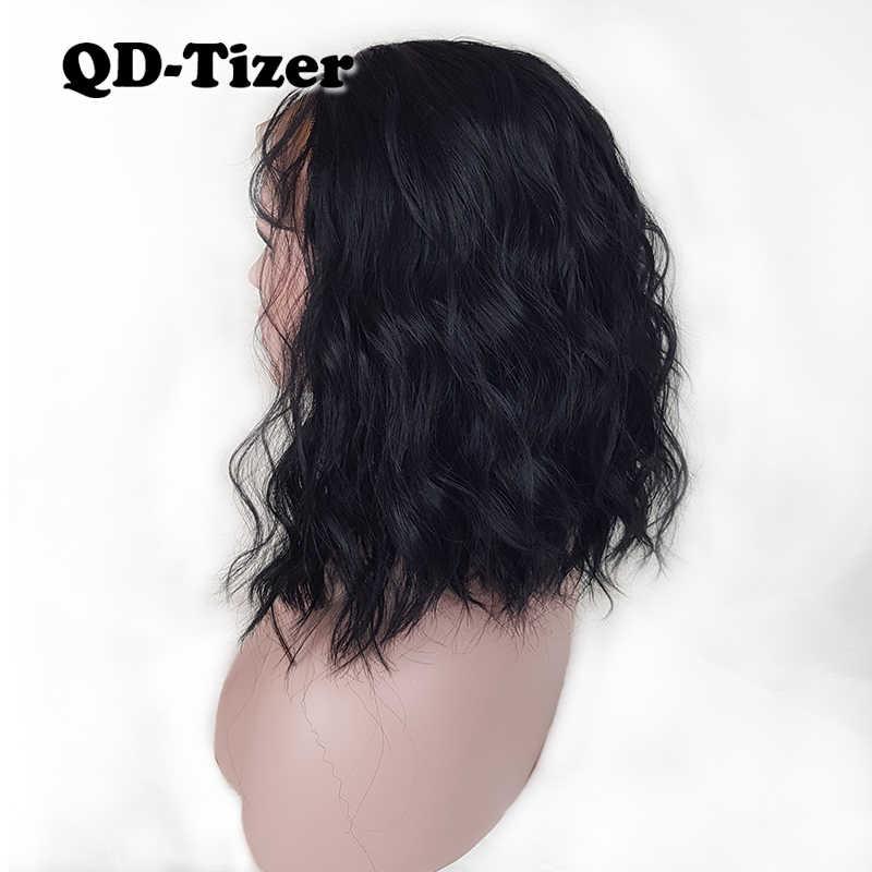 QD-Tizer Zwart/Bruin Losse Golf Synthetische Lace Front Pruik Korte Lob Haar Lijmloze met Baby Haar lace Front Pruiken voor Vrouwen