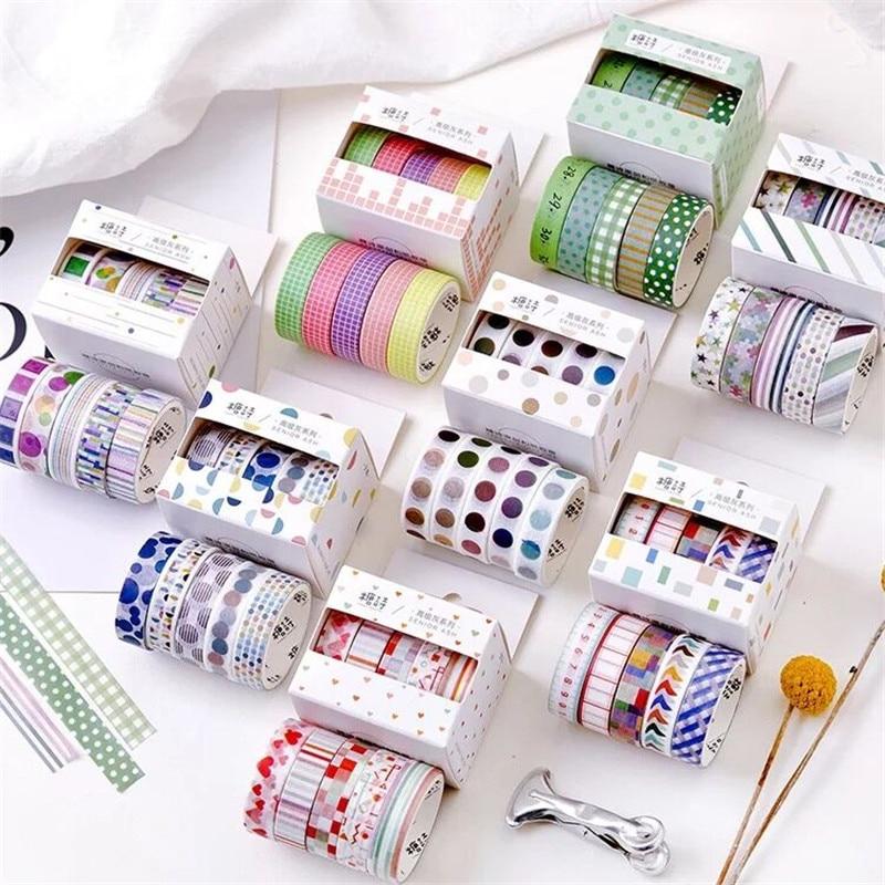 5PCS Striped Grid Adhesive Washi Tape Scrapbooking Label Masking Sticker Paper