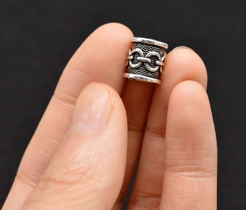 Antique Silver Viking Chains Vikings Beads for Bracelets Beard Hair Beads