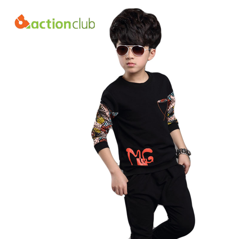 (2 pieces) Children clothing sets 2015 new arrival baby boys sets letter pattern long sleeve clothes set cotton soft set KS373