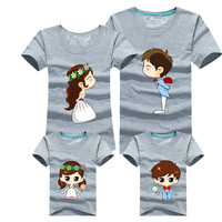 Family Matching Outfits Mother Father Son Daughter 15 Colors Cartoon Bride Bridegroom Print Women Men Children