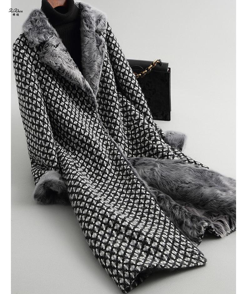 ZiZhen D'hiver de Femmes Long Cachemire Laine Naturelle Manteau Réel de Fourrure D'agneau Doublure Manchette Pardessus Poches Turn-down Collar 180709-1,18601