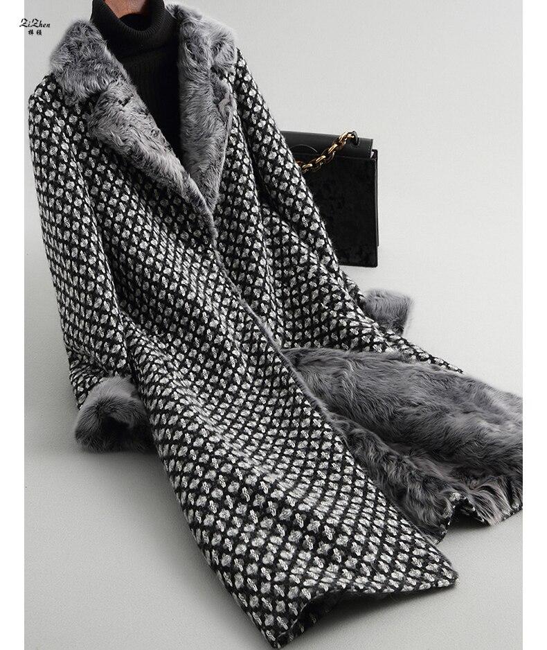 ZiZhen delle Donne di Inverno Lungo cappotto di Cachemire di Lana Naturale Cappotto Reale Pelliccia di Agnello Fodera Polsino Cappotto Tasche Gira-giù il Collare 180709-1,18601