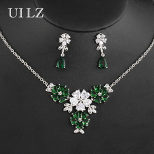 UILZ  Luxury Brand Cubic Zircon Earrings Necklace Set Flower Shape Wedding Bridal Dress Accessories US310