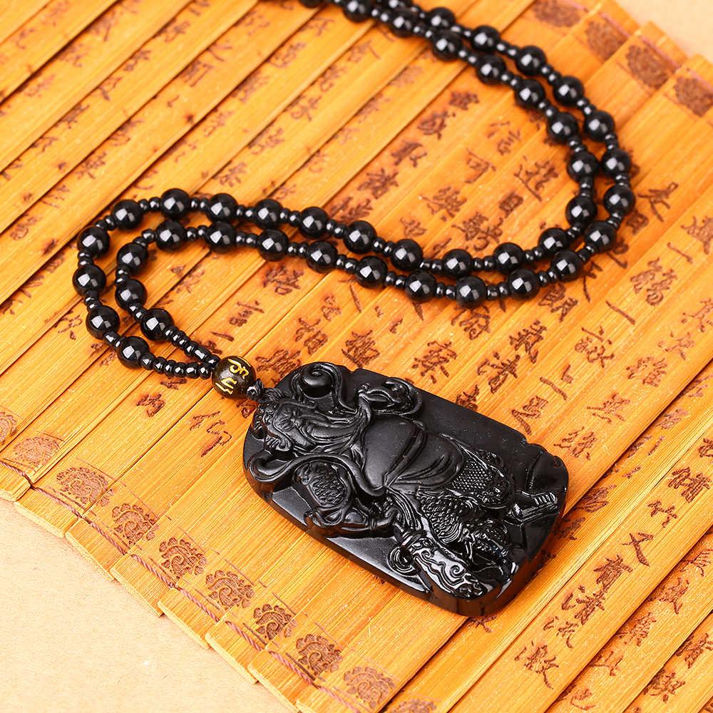 高品質ユニークな自然な黒黒曜石彫黒曜石フィギュアクリスタルラッキーアミュレットペンダントネックレス女性男性ジュエリー