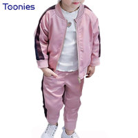 Kids Girls Boys Pants Suits 2017 Autumn Winter Child Clothing Sets Side Striped Active Sportswear Trouser