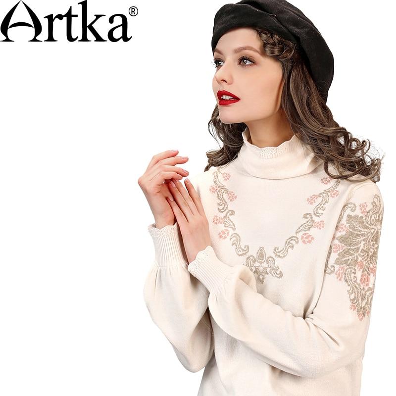 ARTKA damska jesień nowy 2 kolory Jarquard sweter z wełny w stylu Vintage z golfem latarnia rękaw wygodne cały mecz dzianiny YB12665Q w Pulowery od Odzież damska na  Grupa 3