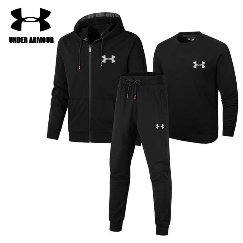 Under Armour Men Sports Suits Gym clothing men jogging Training running suits 3 pieces jacket+sweatshirt+pants Asian Size L-5XL все цены