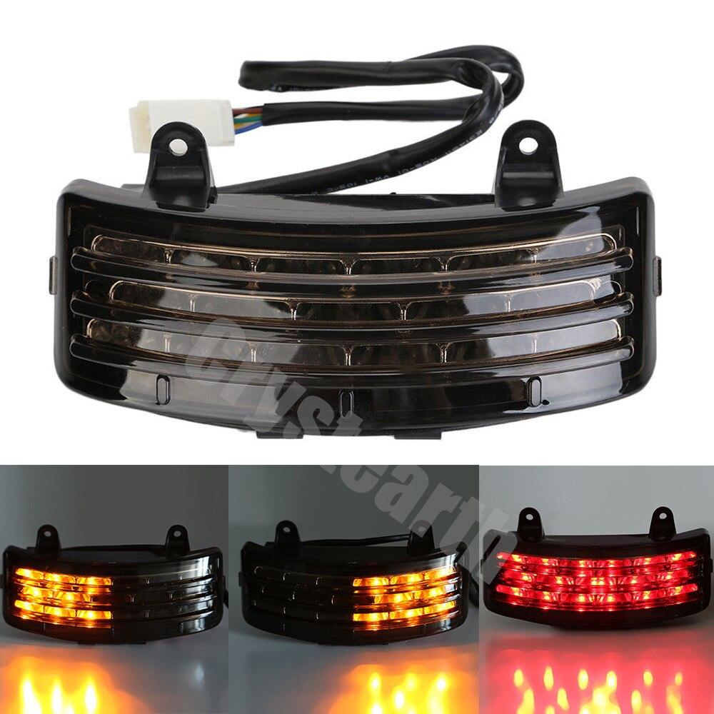 Motorcycle Smoke Lens Tri-Bar Fender LED Tail Brake Turn Signal Light Stop Warning Light for Harley FLHX Street Glide Touring