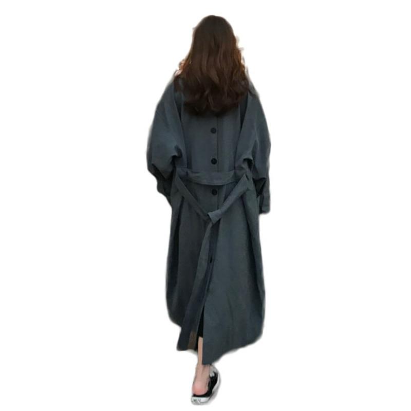 2019 Spring Autumn Women Elegant Long Sleeve Single Breasted Trench Coat Long Tops Female Pocket Shirt Windbreaker Overcoat M57